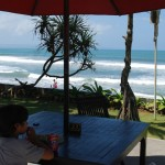 View from the Legong Hotel, right on Brawa Beach