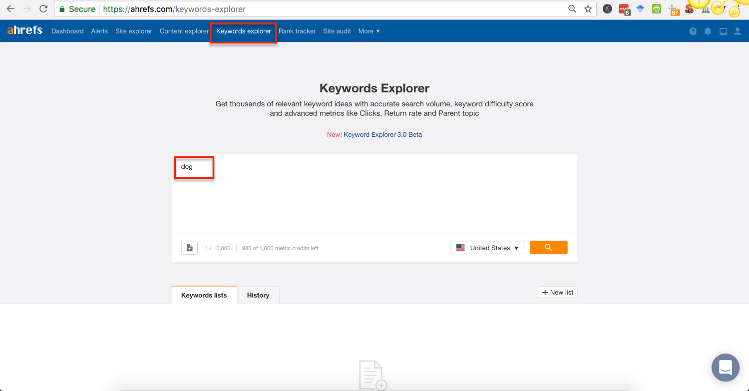 ahrefs keywords explorer enter seed keyword