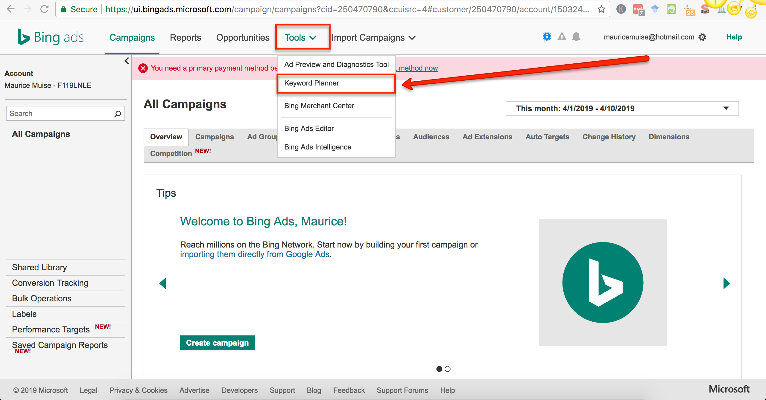 bing ads choose keyword planner