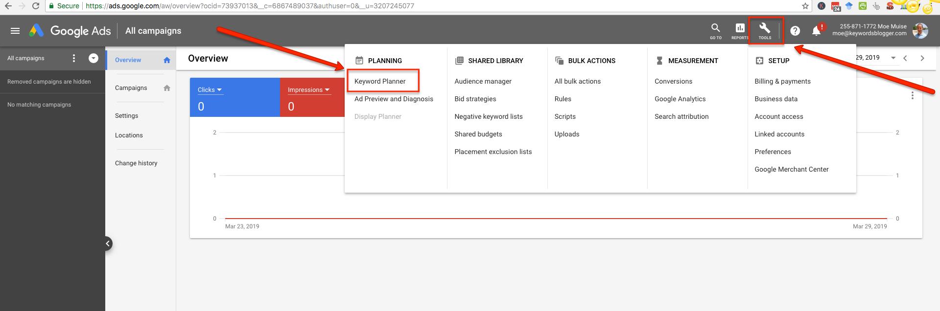 google ad keyword planner GKP