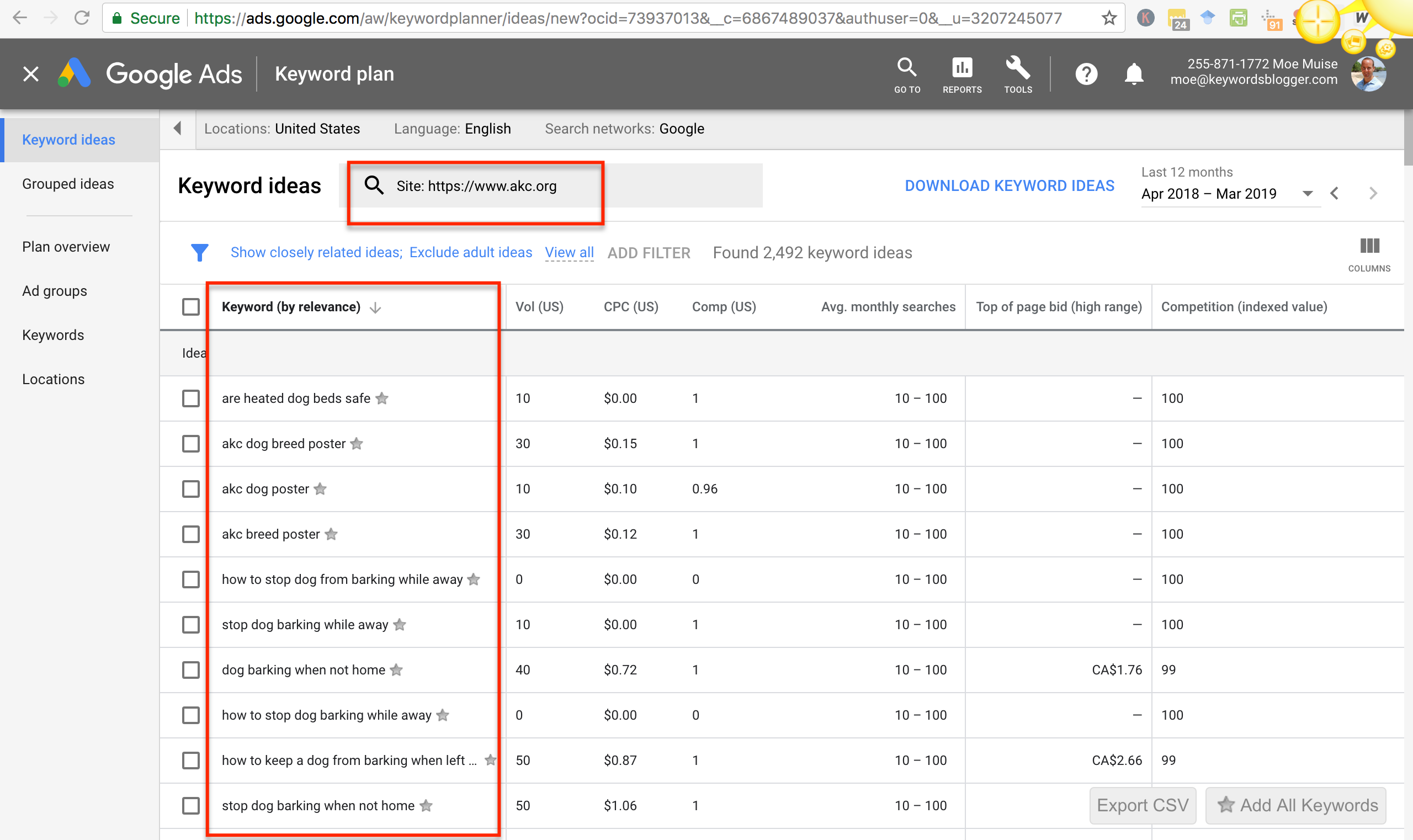 google keyword planner URL search AKC result